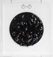 bitume sur disque vinyle, plexiglas